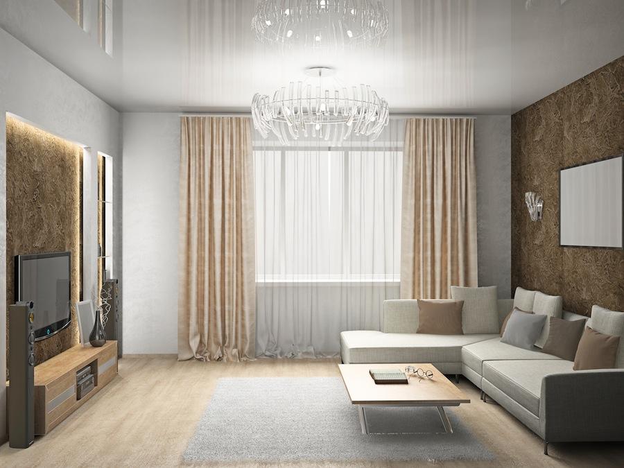 Оформление потолков в гостиной фото