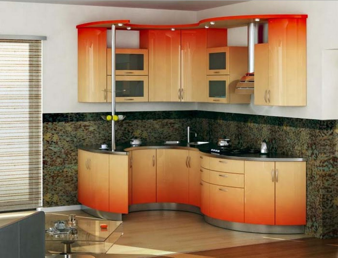 Угловые кухни с гнутыми фасадами фото